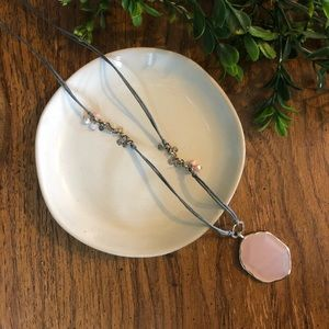 Silpada pink and grey long necklace